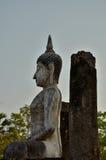 Broken pillar and ruin buddha Stock Photo