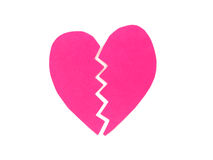 Broken pink heart Stock Photography