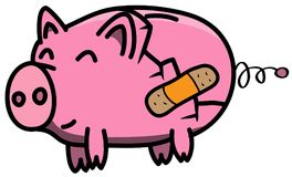 Broken pink piggybank in cartoon style happy with treated wound using plaster.  Royalty Free Stock Image