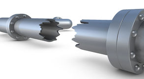 Broken pipe. Closeup of a broken pipe (3d render vector illustration