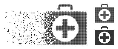 Broken Pixel Halftone First Aid Icon. Grey vector first aid icon in dispersed, dotted halftone and undamaged whole versions. Disintegration effect uses square Royalty Free Stock Photos