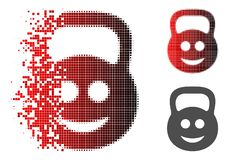 Broken Pixel Halftone Smiled Ton Weight Icon. Smiled ton weight icon in dispersed, dotted halftone and undamaged whole versions. Fragments are combined into stock illustration