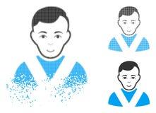 Broken Pixelated Halftone Awarded Man Icon with Face. Awarded man icon with face in dispersed, pixelated halftone and undamaged entire variants. Elements are royalty free illustration