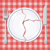 Broken plate with fork and knife illustration. Plate fork and knife on a picnic tablecloth Royalty Free Stock Images