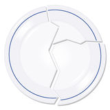 Broken plate illustration. Broken plate on white background Stock Photography