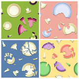Broken Plates Seamless Patterns Stock Photos