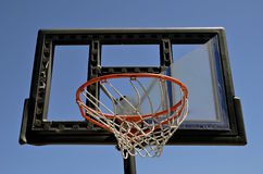 Broken plexiglass on a outdoor basketball backboard Stock Image