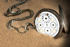 Broken Pocket Watch In The Sand Stock Photography