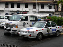 Broken police car in Panama Royalty Free Stock Image