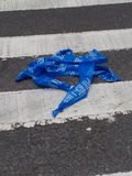 Barricade Tape, Police Tape, Law Enforcement Tape, Barrier Tape, Police Line in the Crosswalk Royalty Free Stock Photography