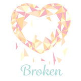 Broken polugonal heart Royalty Free Stock Image