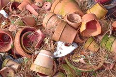 Broken Pottery. All laying on the ground royalty free stock photos