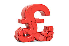 Broken pound sterling symbol, 3D rendering Stock Photo