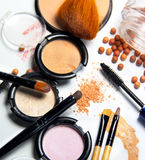 Broken Powder, Foundation And Brushes Stock Images