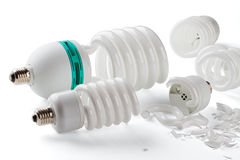 Broken power saving up lamps Royalty Free Stock Images
