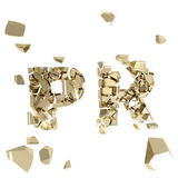 Broken PR metaphor, smashed word explosion. Broken PR metaphor, word explosion smashed into tiny golden pieces isolated on white Stock Photo