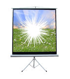 Broken projector screen. Photo of a broken projector screen ideal for spares and repairs,equipment etc royalty free stock image