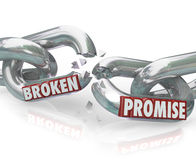 Broken Promise Chain Links Breaking Unfaithful Violation. The words Broken Promise on chain links breaking apart to symbolize unfaithfulness, violation, mistrust vector illustration