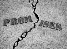 Broken Promises. With crack in concrete with words Stock Photography