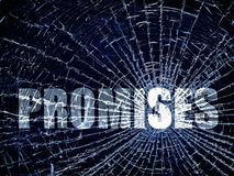 Broken Promises. The word Promises on a blue cracked background Stock Images