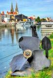 Broken propeller on a riverside in Regensburg, Germany Stock Photography