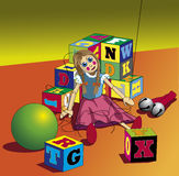 Broken Puppet. A puppet of a little girl sits with all but one string broken, surrounded by toy blocks, bells and a ball vector illustration