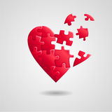 Broken puzzle heart Stock Photo