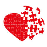 Broken puzzle heart. Isolated on white, vector illustration Stock Photo