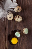 Broken quail egg with the leaked yolk Royalty Free Stock Photo
