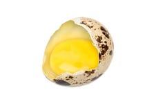 Broken quail egg. Raw broken quail egg  on white background Stock Photo