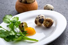 Broken quail eggs with parsley on the white table. Eco product royalty free stock photo