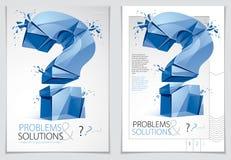 Broken Question Mark exploding brochure or flyer design, Query b Royalty Free Stock Photos