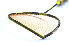 Broken racket on white. Racket broken or crooked on white royalty free stock photos