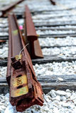 Broken railroad tracks. Rusted and dilapidated railroad tracks Royalty Free Stock Photo