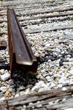 Broken railroad tracks. Rusted and dilapidated railroad tracks Stock Photos