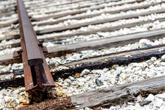 Broken railroad tracks. Rusted and dilapidated railroad tracks Royalty Free Stock Photos