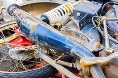 Broken rashed motorcycle Royalty Free Stock Images