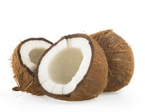 Broken raw ripe coconut Stock Photography