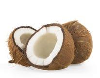 Broken raw ripe coconut Stock Photography