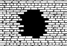 Broken realistic old white brick wall concept on black background Stock Photography