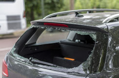 Broken rear window. In the car, probably robbery royalty free stock photo