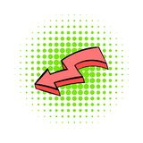 Broken red arrow icon, comics style. Broken red arrow icon in comics style isolated on white background stock illustration