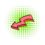 Broken red arrow icon, comics style. Broken red arrow icon in comics style on white background stock illustration