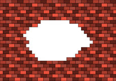 Broken red brick wall with big white hole inside with copyspace Royalty Free Stock Photography