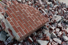 Broken Red Bricks Are Piled High At Demolition Site Royalty Free Stock Photos