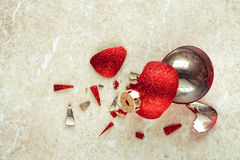 Broken red Christmas ball royalty free stock photo