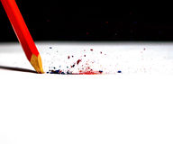 Broken red crayon Royalty Free Stock Images