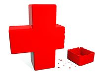 Broken Red Cross Stock Photography