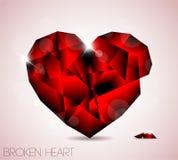 Broken red diamond jewel heart Royalty Free Stock Images