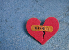 Broken red Divorce heart Stock Images